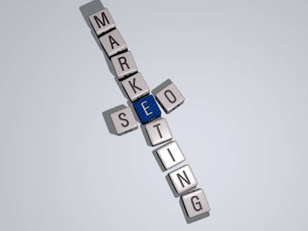 crosswords of SEO MARKETING arranged by cubic letters on a mirror floor, concept meaning and presentation. illustration and business 스톡 콘텐츠