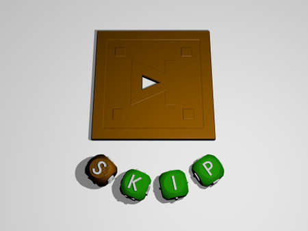 3D illustration of skip graphics and text around the icon made by metallic dice letters for the related meanings of the concept and presentations