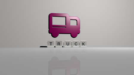 3D graphical image of truck vertically along with text built by metallic cubic letters from the top perspective, excellent for the concept presentation and slideshows. illustration and car