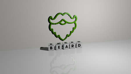 3D graphical image of beard vertically along with text built by metallic cubic letters from the top perspective, excellent for the concept presentation and slideshows. background and adult