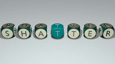 SHATTER combined by dice letters and color crossing for the related meanings of the concept. abstract and illustration