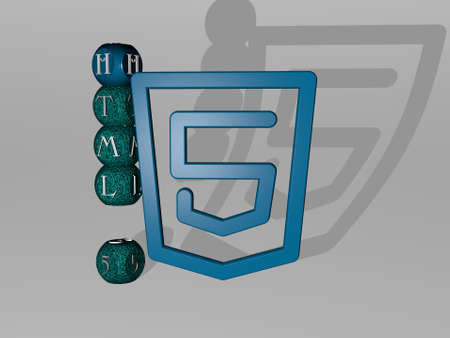 3D illustration of HTML 5 graphics and text around the icon made by metallic dice letters for the related meanings of the concept and presentations. code and computer