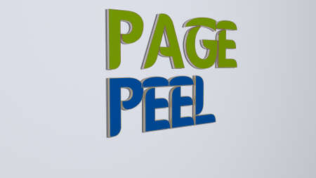 3D graphical image of PAGE PEEL vertically along with text built by metallic cubic letters from the top perspective, excellent for the concept presentation and slideshows. illustration and background