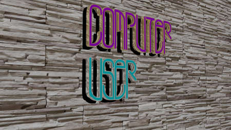 3D representation of COMPUTER USER with icon on the wall and text arranged by metallic cubic letters on a mirror floor for concept meaning and slideshow presentation. illustration and business