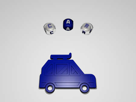 3D illustration of car graphics and text around the icon made by metallic dice letters for the related meanings of the concept and presentations. auto and automobile Stock fotó