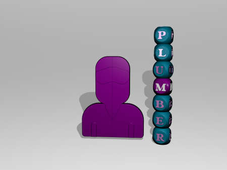 3D illustration of plumber graphics and text around the icon made by metallic dice letters for the related meanings of the concept and presentations. cartoon and character