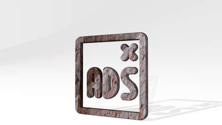 ads window casting shadow with two lights. 3D illustration of metallic sculpture over a white background with mild texture. design and advertising 版權商用圖片