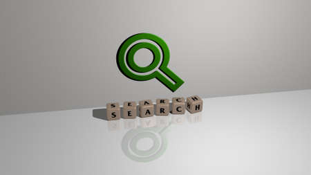 3D illustration of search graphics and text made by metallic dice letters for the related meanings of the concept and presentations. icon and business Archivio Fotografico