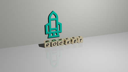 3D graphical image of rocket vertically along with text built by metallic cubic letters from the top perspective, excellent for the concept presentation and slideshows. illustration and space 写真素材