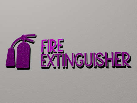 3D representation of fire extinguisher with icon on the wall and text arranged by metallic cubic letters on a mirror floor for concept meaning and slideshow presentation. illustration and background