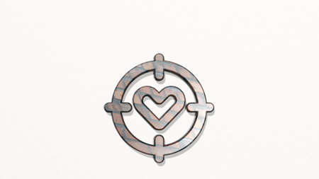 DATING TARGET on the wall. 3D illustration of metallic sculpture over a white background with mild texture. couple and love