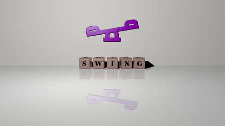 3D representation of swing with icon on the wall and text arranged by metallic cubic letters on a mirror floor for concept meaning and slideshow presentation. beautiful and girl
