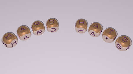 HARD HATS combined by dice letters and color crossing for the related meanings of the concept. background and illustration