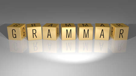 3D graphical image of Grammar vertically along with text built by metallic cubic letters from the top perspective, excellent for the concept presentation and slideshows. education and english