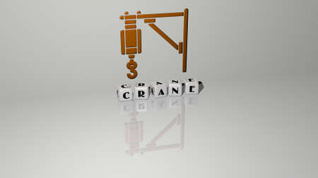 3D graphical image of crane vertically along with text built by metallic cubic letters from the top perspective, excellent for the concept presentation and slideshows. construction and building
