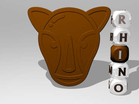 3D representation of rhino with icon on the wall and text arranged by metallic cubic letters on a mirror floor for concept meaning and slideshow presentation. illustration and animal