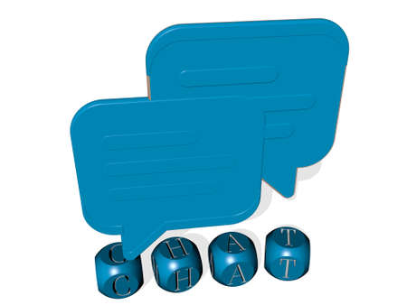 3D representation of CHAT with icon on the wall and text arranged by metallic cubic letters on a mirror floor for concept meaning and slideshow presentation. illustration and communication