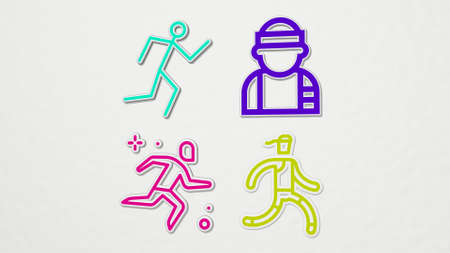 runner on the wall. 3D illustration of metallic sculpture over a white background with mild texture. running and athlete