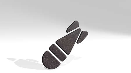 bomb rocket casting shadow from a perspective. A thick sculpture made of metallic materials of 3D rendering. illustration and background
