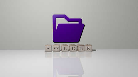 3D illustration of folder graphics and text made by metallic dice letters for the related meanings of the concept and presentations. business and background