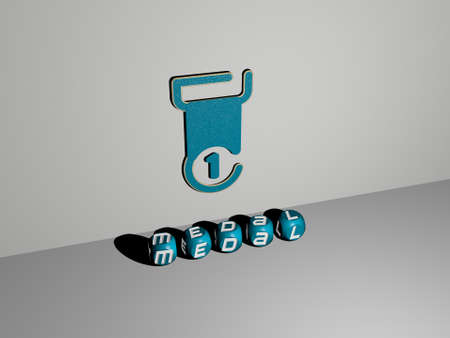 3D illustration of medal graphics and text made by metallic dice letters for the related meanings of the concept and presentations. award and icon