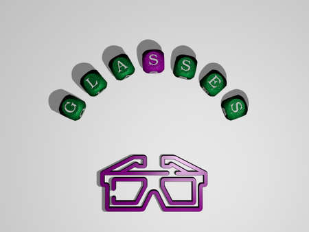 3D illustration of glasses graphics and text around the icon made by metallic dice letters for the related meanings of the concept and presentations. background and business