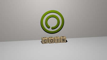 COIN 3D icon on the wall and cubic letters on the floor. 3D illustration. business and background