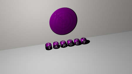 TARGET 3D icon on the wall and text of cubic alphabets on the floor. 3D illustration. business and concept