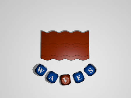 waves text around the 3D icon. 3D illustration. background and abstract