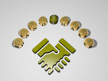 handshake 3D icon surrounded by the text of cubic letters. 3D illustration. business and agreement