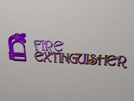 FIRE EXTINGUISHER icon and text on the wall. 3D illustration. background and abstract 스톡 콘텐츠