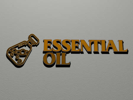 essential oil icon and text on the wall. 3D illustration. background and bottle