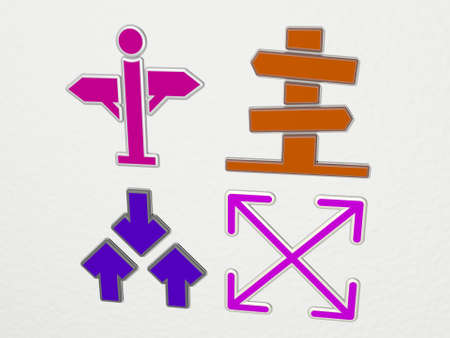 DIRECTIONS 4 icons set. 3D illustration. background and arrows
