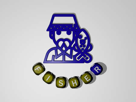 fisher text around the 3D icon. 3D illustration. fishing and fisherman