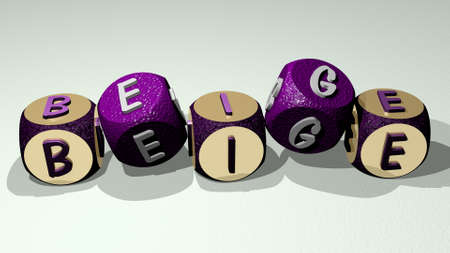 BEIGE text by dancing dice letters. 3D illustration. background and abstract