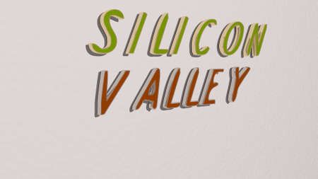 silicon valley text on the wall. 3D illustration. usa and america