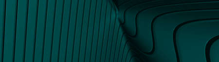 Ultra wide 3D abstract background of curved geometrical patterns of TEAL color with lighting and shadows for various applications needing colorful environment. illustration and blue