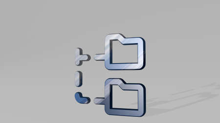 FOLDER CONNECT 3D icon standing on the floor. 3D illustration. business and background 写真素材