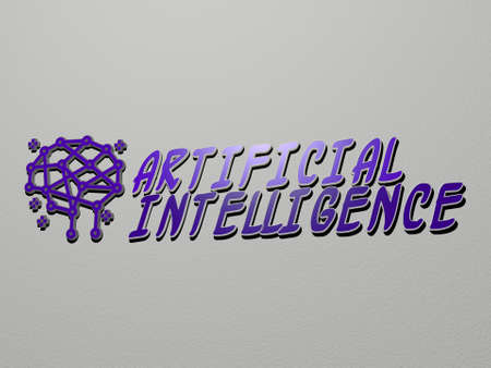 ARTIFICIAL INTELLIGENCE icon and text on the wall - 3D illustration for background and concept