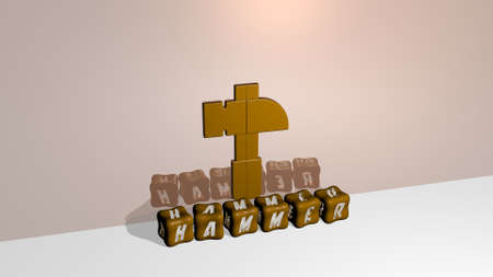 3D representation of HAMMER with icon on the wall and text arranged by metallic cubic letters on a mirror floor for concept meaning and slideshow presentation for illustration and background Banco de Imagens
