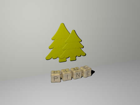 pine 3D icon on the wall and cubic letters on the floor - 3D illustration for background and forest