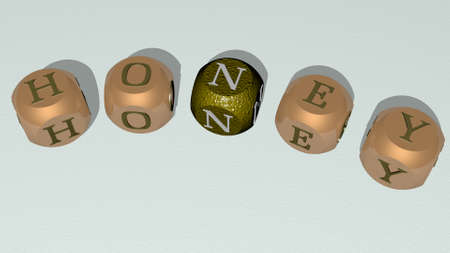 honey curved text of cubic dice letters - 3D illustration for background and bee Archivio Fotografico