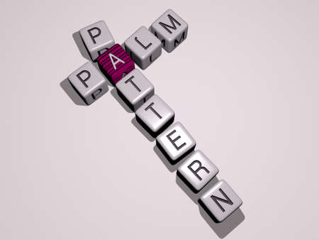 palm pattern crossword by cubic dice letters - 3D illustration for background and beach