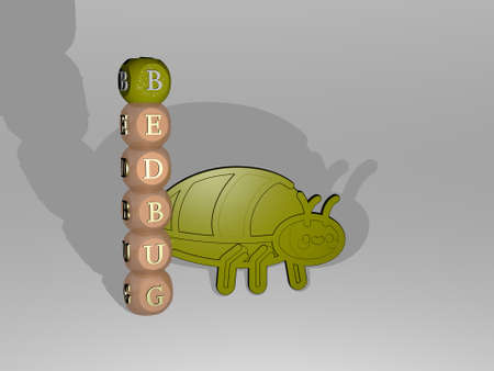 3D representation of bedbug with icon on the wall and text arranged by metallic cubic letters on a mirror floor for concept meaning and slideshow presentation for illustration and animal 版權商用圖片