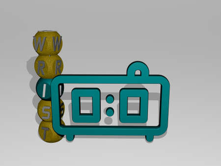 wrist 3D icon and dice letter text - 3D illustration for watch and hand Banque d'images