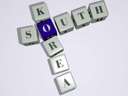 South Korea crossword by cubic dice letters - 3D illustration for africa and blue Фото со стока
