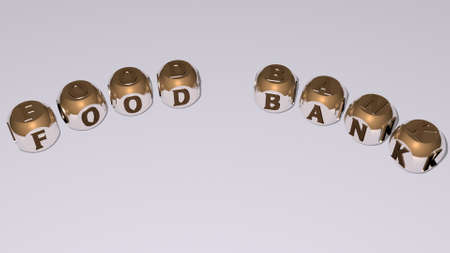 FOOD BANK text of dice letters with curvature - 3D illustration for background and fresh