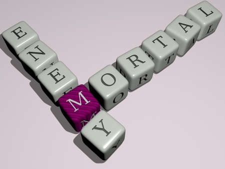 mortal enemy crossword by cubic dice letters - 3D illustration for concept and conflict