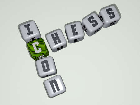 CHESS ICON crossword by cubic dice letters - 3D illustration for background and board Reklamní fotografie