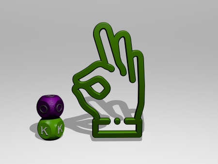ok 3D icon and dice letter text - 3D illustration for sign and background